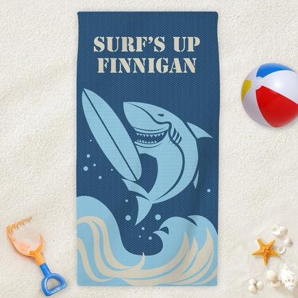 Surf's Up Personalized Kids Beach Towel