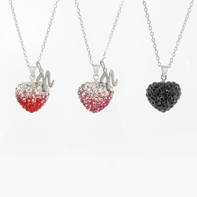 Swarovski Crystal Heart Silver Necklace with Initial Option