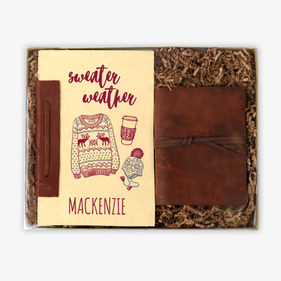 Sweater Weather Rustic Leather Journal & Custom Notebook Gift Set