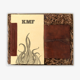 Tentacles Rustic Leather Journal & Custom Notebook Gift Set
