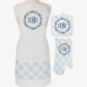 The Modern 3-Piece Personalized Apron, Pot Holder and Mitt Set