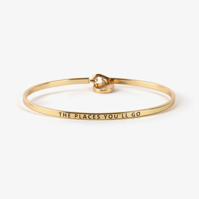 The Places You'll Go Custom Gold Initial Charm Bangle