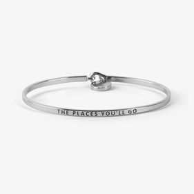 The Places You'll Go Custom Silver Initial Charm Bangle