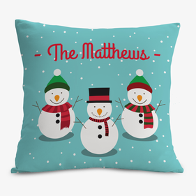 Personalized Snowman Family Cushion Cover