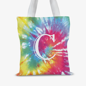 Tie Dye Personalized Initial Tote Bag