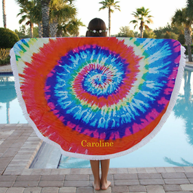 Tie Dye Personalized Round Terry Beach Towel
