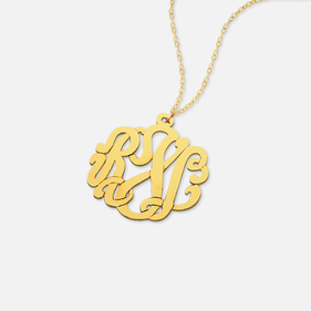 Traditional Gold over Silver Monogram Necklace