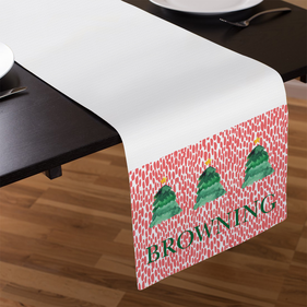 Christmas Trees Personalized Name Table Runner