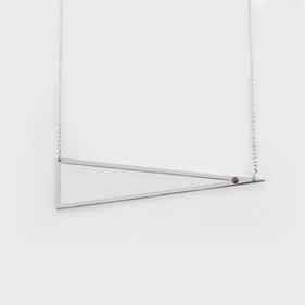 Sterling Silver Triangle Shape Necklace with Birthstone