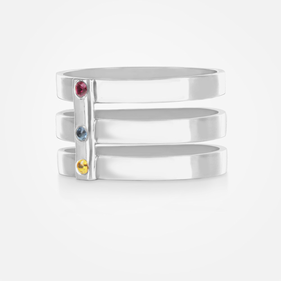 Sterling Silver Triple Strap Ring Personalized w/ Birthstones