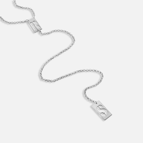 Sterling Silver Two Initials Lariat Necklace