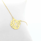 Two Initial Necklace in Gold over Silver