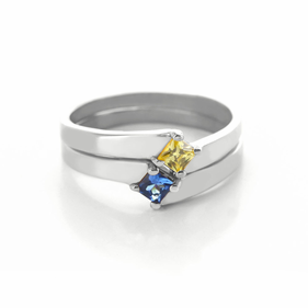 Sterling Silver Two Piece Stackable Birthstone Rings