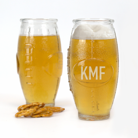 Wedding Inspired Custom Football Shaped Beer Glass