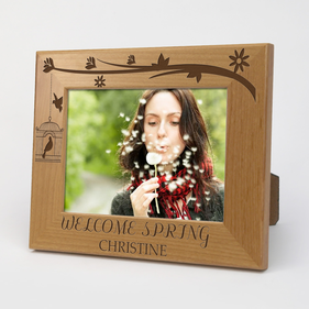 Welcome Spring Personalized Wood Picture Frame