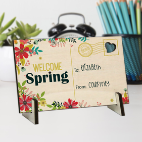 Welcome Spring Personalized Wood Postcard