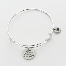 When A Child Is Born So Is A Grandma Personalized Bangle