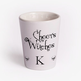 Custom Cheers Witches White Ceramic Shot Glass