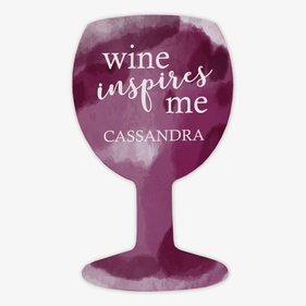 Wine Inspires Me Custom Wine Glass Magnet