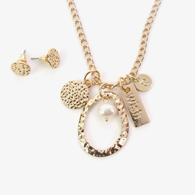 Wish Custom Charm and Gold Pearl Necklace w/ Earrings