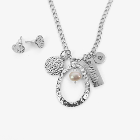 Wish Custom Initial Charm and Pearl Silver Necklace w/ Earrings