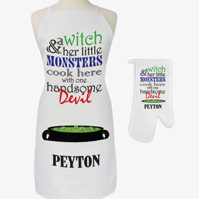 Witch & Monsters Custom Adult 2-Piece Halloween Apron & Potholder Set