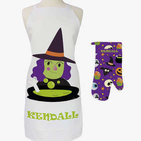 Witch's Brew Custom Adult 2-Piece Halloween Apron & Potholder Set
