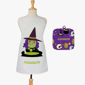 Witch's Brew Custom Kids 2-Piece Halloween Apron & Potholder Set
