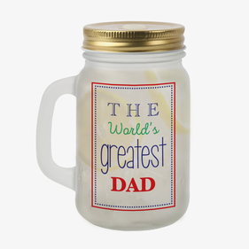 World's Greatest Dad Custom Frosted Mason Jar w/ Lid & Straw