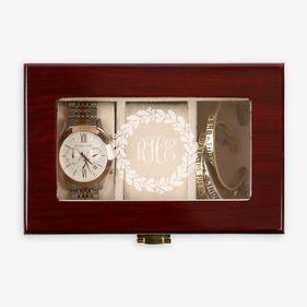 Wreath Monogram 3-slot Wood Watch Case