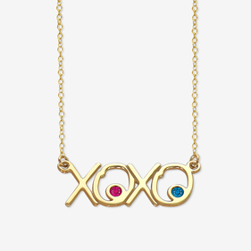 XOXO Birthstone Necklace in Sterling Silver