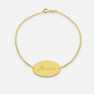 Yellow Gold or Rose Gold over Silver Engraved Name Baby's Bracelet