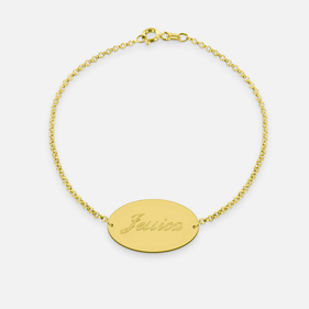 Yellow Gold or Rose Gold over Sterling Silver Engraved Name Baby's Bracelet