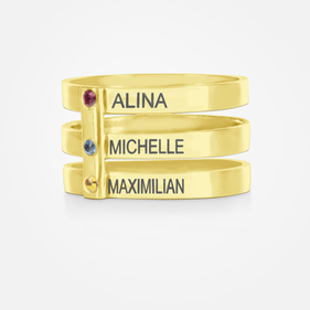 Yellow Gold or Rose Gold over Sterling Silver Personalized Triple Strap Ring with Birthstones