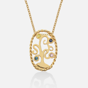 Yellow Gold over Silver Birthstone Family Tree Necklace