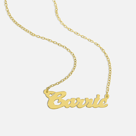 Yellow or Rose Gold over Silver Name Necklace Carrie Style