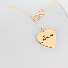 Yellow Gold over Silver Personalized Infinity Necklace with Heart Charm