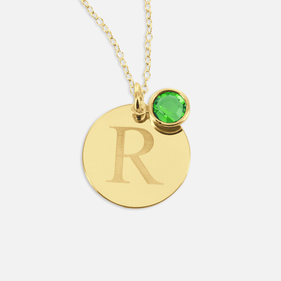 Yellow or Rose Gold over Silver Custom Necklace w/ Initial & Swarovski Birthstone Charm