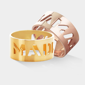 Yellow or Rose Gold over Silver Cut Out Name Ring