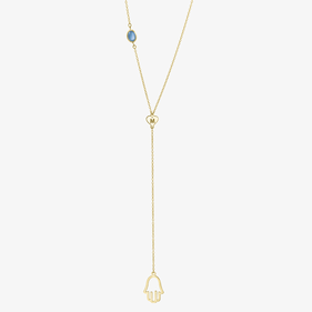 Yellow or Rose Gold over Silver Hamsa Lariat Necklace w/ Swarovski Birthstone