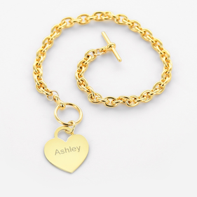 Yellow or Rose Gold over Silver Heavy Chain Bracelet w/ Personalized Heart Charm