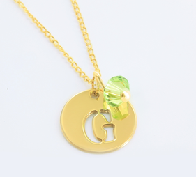 Yellow or Rose Gold over Silver Necklace Personalized w/ Initial & Swarovski Birthstone