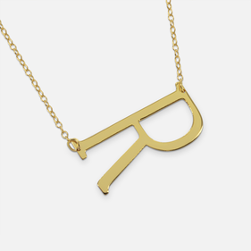 Yellow or Rose Gold over Silver Personalized Horizontal Initial Necklace