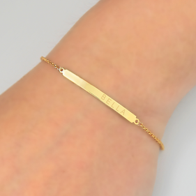 Yellow or Rose Gold over Silver Personalized Name Bar Bracelet