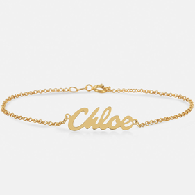 Yellow or Rose Gold over Silver Personalized Name Bracelet