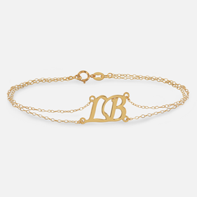 Yellow or Rose Gold over Silver Personalized Two Initial Bracelet