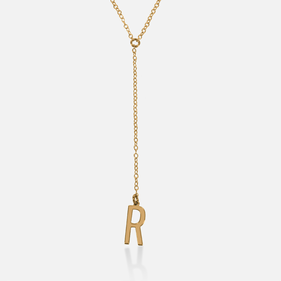 Yellow or Rose Gold over Silver Personalized w/ Initial Lariat Necklace