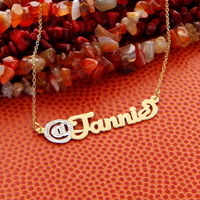 Yellow or Rose Gold over Silver Script @Name Necklace