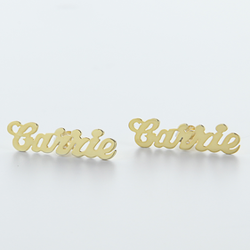 Yellow or Rose Gold over Silver Stud Name Earrings