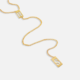 Yellow or Rose Gold over Silver Two Initials Lariat Necklace